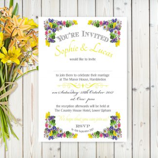 Flower Garden Yellow on White Card - A5 Invitation