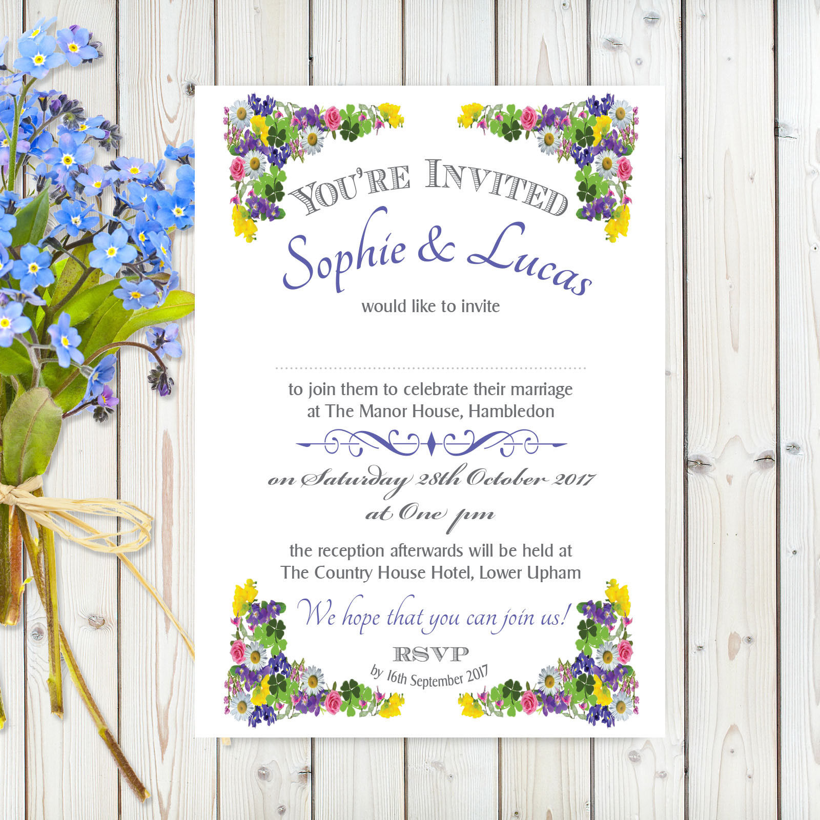 Flower Garden Blue on White Card – A5 Invitation | Feel The Magic Ltd.