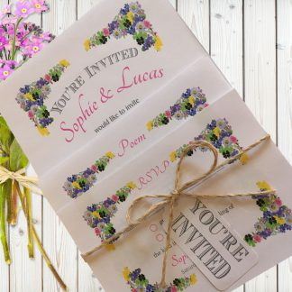 Flower Garden Pink on White Card - 3 Card Set