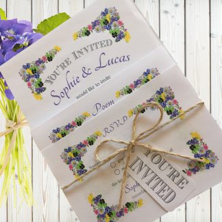 Flower Garden Purple on White Card - 3 Card Set
