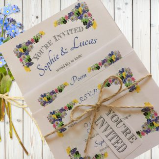 Flower Garden Blue on White Card - 3 Card Set