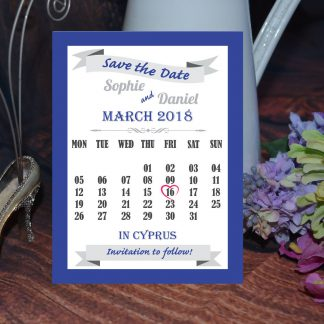 Wedding Fete Navy Blue & Silver - Save the Date Calendar Card