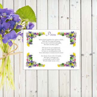Flower Garden Purple on White Card - Poem Cards