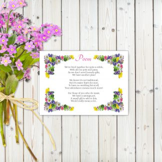 Flower Garden Pink on White Card - Poem Cards