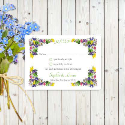 Flower Garden Green on White Card - RSVP Postcard