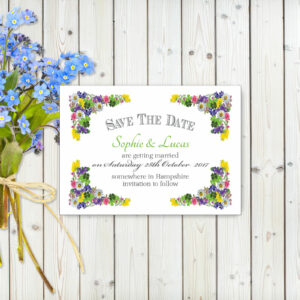 Flower Garden Green on White Card - Save the Date Cards