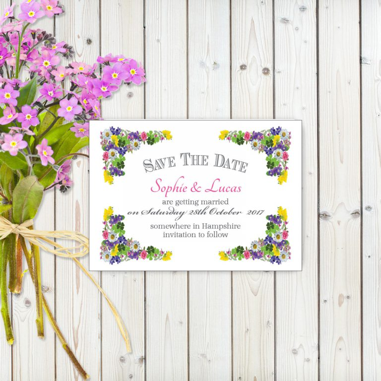 Flower Garden Pink on White Card - Save the Date Cards