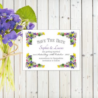 Flower Garden Purple on White Card - Save the Date Cards