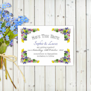 Flower Garden Blue on White Card - Save the Date Cards