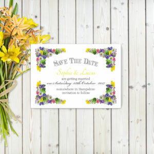 Flower Garden Yellow on White Card - Save the Date Cards