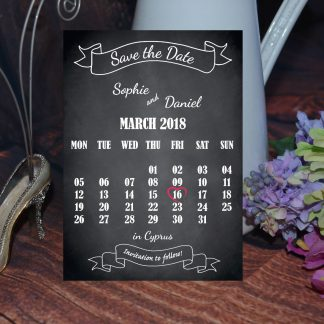 Wedding Fete on Chalkboard - Save the Date Calendar Card