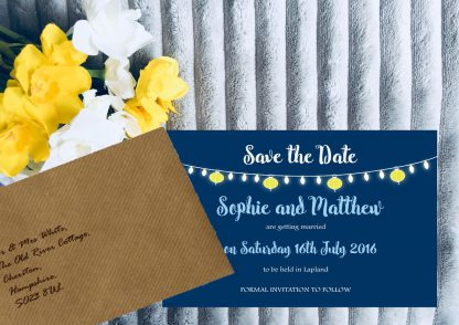 Personalised Save the Date Cards 'Fiesta Lights' Night Sky, inc Brown Envelopes