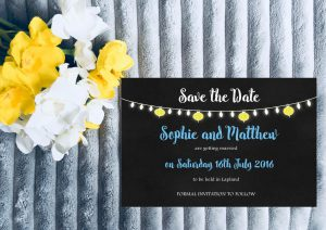 Personalised Save the Date Cards 'Fiesta Lights' Chalkboard, inc Envelopes
