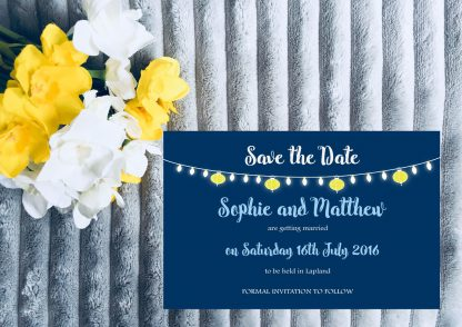 Personalised Save the Date Cards 'Fiesta Lights' Night Sky, inc Envelopes