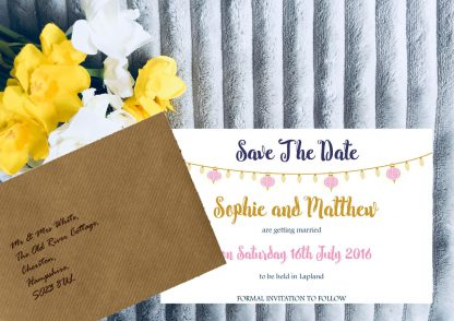 Personalised Save the Date Cards 'Fiesta Lights' Chalkboard, inc Brown Envelopes