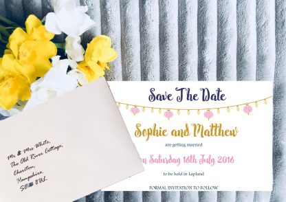 Personalised Save the Date Cards 'Fiesta Lights' Chalkboard, inc White Envelopes