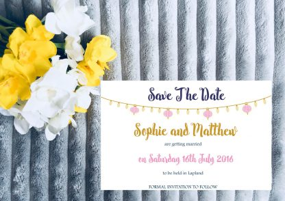 Personalised Save the Date Card Fiesta Lights Pink, Navy & Gold inc. envelopes