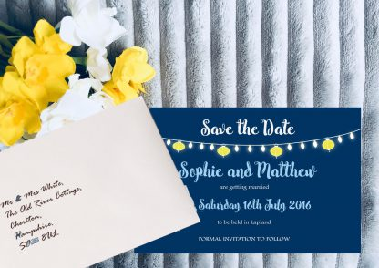 Personalised Save the Date Cards 'Fiesta Lights' Night Sky, inc White Envelopes