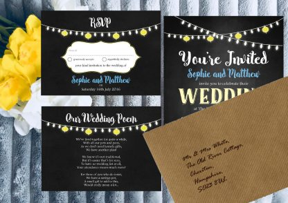 Personalised Wedding Invitation Set Fiesta Lights Chalkboard inc Brown Envelopes