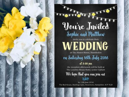 Personalised Wedding Invitation Set Fiesta Lights Chalkboard
