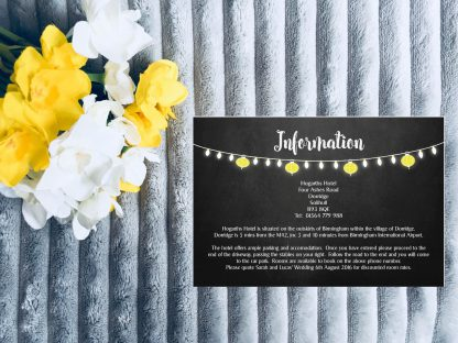 Personalised Wedding Invitation Set Fiesta Lights Chalkboard Information Card