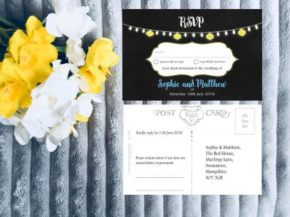 Personalised Wedding Invitation Set Fiesta Lights Chalkboard RSVP Card