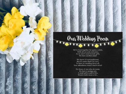Personalised Wedding Invitation Set Fiesta Lights Chalkboard Poem Card