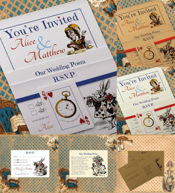 Vintage Alice in Wonderland 3 card set range