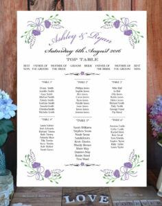floral fantasty table plan lilac
