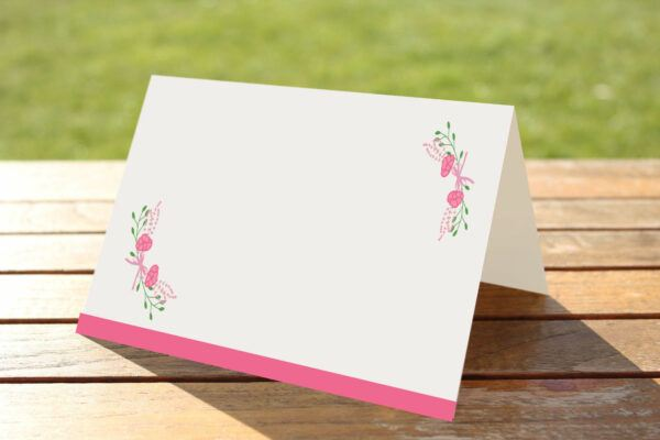 floral fantasy pink place name cards blank