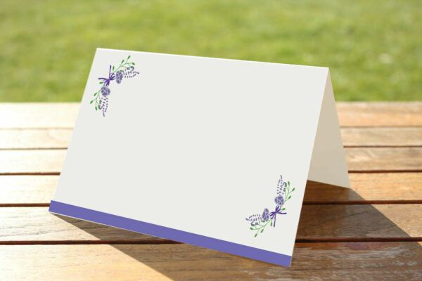 floral fantasy purple place name cards blank