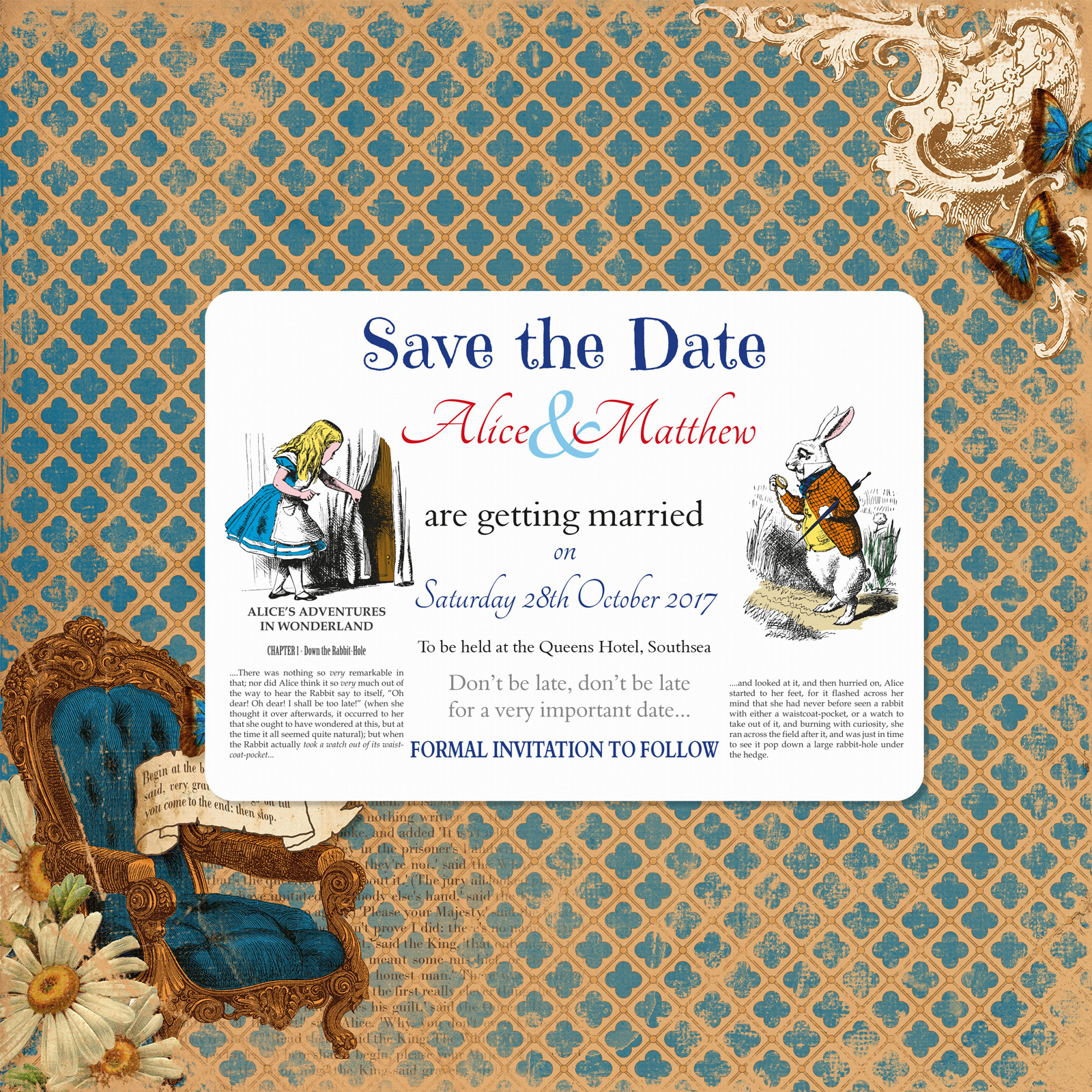 Vintage Alice - Save the Date Cards